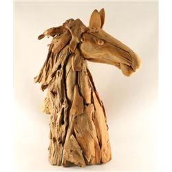 Large Artesian Made Wood Horsehead