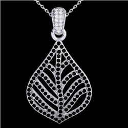 1.25 CTW Micro Pave Black & VS/SI Diamond Necklace Designer 18K White Gold - REF-136F4M - 21283