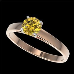 0.74 CTW Certified Intense Yellow SI Diamond Solitaire Engagement Ring 10K Rose Gold - REF-112M2F -