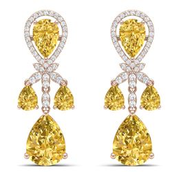 35.67 CTW Royalty Canary Citrine & VS Diamond Earrings 18K Rose Gold - REF-290T9X - 38617