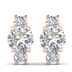 2.9 CTW Certified VS/SI Diamond 3 Stone Stud Earrings 18K Rose Gold - REF-595K4R - 32565