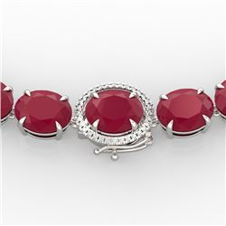 170 CTW Ruby & VS/SI Diamond Necklace 14K White Gold - REF-993M8F - 22312