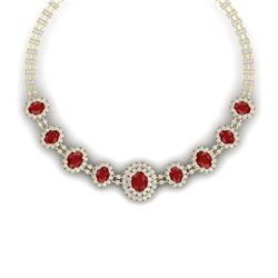 45.69 CTW Royalty Ruby & VS Diamond Necklace 18K Yellow Gold - REF-1618H2W - 38795
