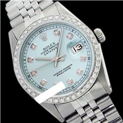 Rolex Men's Stainless Steel, QuickSet, Diamond Dial & Diamond Bezel - REF-441K8R