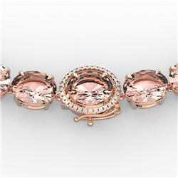 148 CTW Morganite & VS/SI Diamond Halo Micro Pave Necklace 14K Rose Gold - REF-1719F8M - 22305