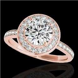 1.65 CTW H-SI/I Certified Diamond Solitaire Halo Ring 10K Rose Gold - REF-219F5M - 34370