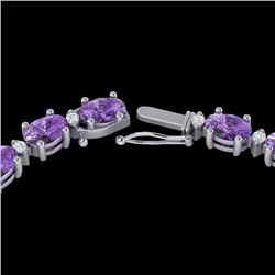 46.5 CTW Amethyst & VS/SI Certified Diamond Eternity Necklace 10K White Gold - REF-226N2Y - 29413