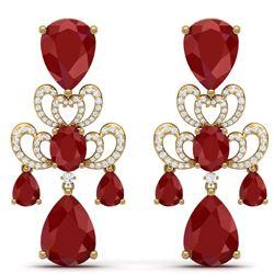 58.73 CTW Royalty Designer Ruby & VS Diamond Earrings 18K Yellow Gold - REF-636H4W - 38675