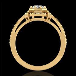 0.53 CTW VS/SI Diamond Art Deco Ring 18K Yellow Gold - REF-138N2Y - 36871