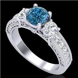2.07 CTW Intense Blue Diamond Solitaire Art Deco 3 Stone Ring 18K White Gold - REF-254Y5N - 37782