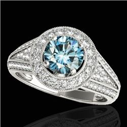 1.7 CTW SI Certified Fancy Blue Diamond Solitaire Halo Ring 10K White Gold - REF-200K2R - 33972