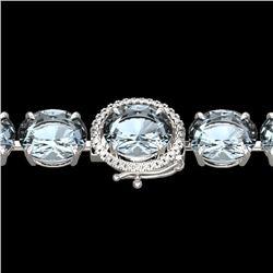 60 CTW Aquamarine & Micro VS/SI Diamond Halo Designer Bracelet 14K White Gold - REF-616H8W - 22252