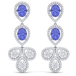 8.75 CTW Royalty Tanzanite & VS Diamond Earrings 18K White Gold - REF-327N3Y - 39087