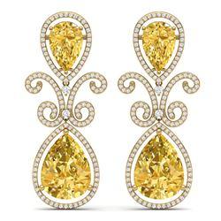 27.31 CTW Royalty Canary Citrine & VS Diamond Earrings 18K Yellow Gold - REF-301R8K - 39554