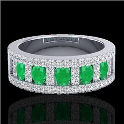 2.34 CTW Emerald & Micro Pave VS/SI Diamond Designer Ring 10K White Gold - REF-67M3F - 20824