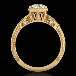 1.17 CTW VS/SI Diamond Solitaire Art Deco Ring 18K Yellow Gold - REF-381K8R - 37216