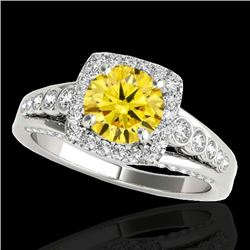 1.75 CTW Certified Si Fancy Intense Yellow Diamond Solitaire Halo Ring 10K White Gold - REF-194W5H -