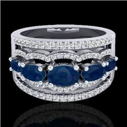 2.25 CTW Sapphire & Micro Pave VS/SI Diamond Certified Designer Ring 10K White Gold - REF-71F3M - 20