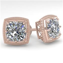 2 CTW VS/SI Cushion Cut Diamond Stud Earrings Deco 18K Rose Gold - REF-581X3T - 35987