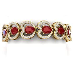 32.15 CTW Royalty Ruby & VS Diamond Bracelet 18K Yellow Gold - REF-690M9F - 38690