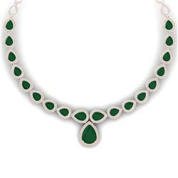 51.41 CTW Royalty Emerald & VS Diamond Necklace 18K Rose Gold - REF-1018T2X - 39421