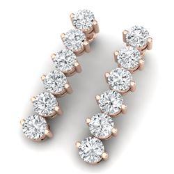 6 CTW Certified SI/I Diamond Earrings 18K Rose Gold - REF-436N4Y - 39999