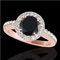 1.65 CTW Certified Vs Black Diamond Solitaire Halo Ring 10K Rose Gold - REF-80X4T - 33476
