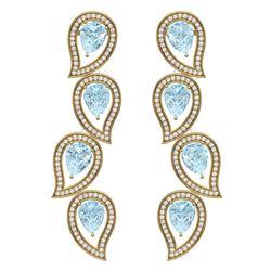 15.69 CTW Royalty Sky Topaz & VS Diamond Earrings 18K Yellow Gold - REF-281R8K - 39461