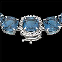 87 CTW London Blue Topaz & VS/SI Diamond Halo Micro Necklace 14K White Gold - REF-317F6M - 23367