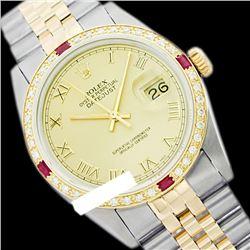 Rolex Ladies Two Tone 14K Gold/SS, Roman Dial & Diam/Ruby Bezel, Saph Crystal - REF-357X8A