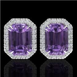 9.40 CTW Amethyst & Micro Pave VS/SI Diamond Halo Earrings 18K White Gold - REF-73F3M - 21216