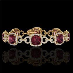 30 CTW Garnet & Micro VS/SI Diamond Certified Bracelet 14K Yellow Gold - REF-368M9F - 23025