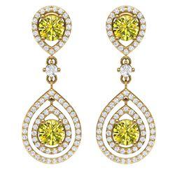 3.9 CTW Fancy Yellow SI Diamond Earrings 18K Yellow Gold - REF-336M4F - 39119