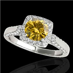 1.7 CTW Certified Si Fancy Intense Yellow Diamond Solitaire Halo Ring 10K White Gold - REF-178T2X -