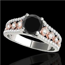 1.45 CTW Certified Vs Black Diamond Solitaire Ring Two Tone 10K White & Rose Gold - REF-76X4T - 3528