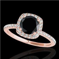 1.5 CTW Certified Vs Black Diamond Solitaire Halo Ring 10K Rose Gold - REF-60X4T - 33338