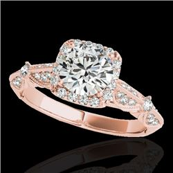1.36 CTW H-SI/I Certified Diamond Solitaire Halo Ring 10K Rose Gold - REF-161K8R - 33752