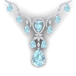 39.14 CTW Royalty Sky Topaz & VS Diamond Necklace 18K White Gold - REF-618N2Y - 38598