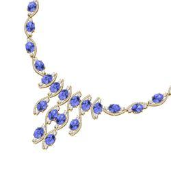 65.60 CTW Royalty Tanzanite & VS Diamond Necklace 18K Yellow Gold - REF-1345W5H - 39005