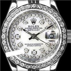 Rolex Men's Stainless Steel, QuickSet, Diamond Dial & Diamond Bezel - REF-474H5W