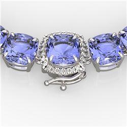 100 CTW Tanzanite & VS/SI Diamond Necklace 14K White Gold - REF-1345H3W - 23361