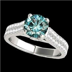 1.61 CTW SI Certified Fancy Blue Diamond Pave Ring Two Tone 10K White Gold - REF-180R2K - 35462