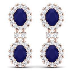 8.98 CTW Royalty Sapphire & VS Diamond Earrings 18K Rose Gold - REF-218R2K - 38815