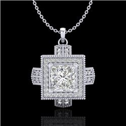 1.46 CTW Princess VS/SI Diamond Solitaire Micro Pave Necklace 18K White Gold - REF-418Y2N - 37193