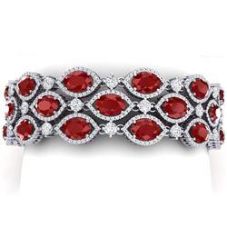 52.84 CTW Royalty Ruby & VS Diamond Bracelet 18K White Gold - REF-1181M8F - 38889