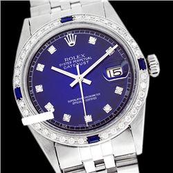 Rolex Men's Stainless Steel, QuickSet, Diam Dial & Diam/Sapphire Bezel - REF-441H8W