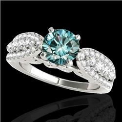 2 CTW SI Certified Fancy Blue Diamond Solitaire Ring 10K White Gold - REF-254Y5N - 35273