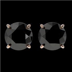 2.13 CTW Fancy Black VS Diamond Solitaire Stud Earrings 10K Rose Gold - REF-52F2M - 36650