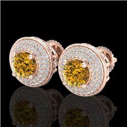 2.35 CTW Intense Fancy Yellow Diamond Art Deco Stud Earrings 18K Rose Gold - REF-236T4X - 38135