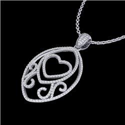 1.75 CTW Micro Pave VS/SI Diamond Designer Heart Necklace 18K White Gold - REF-186F4M - 22588